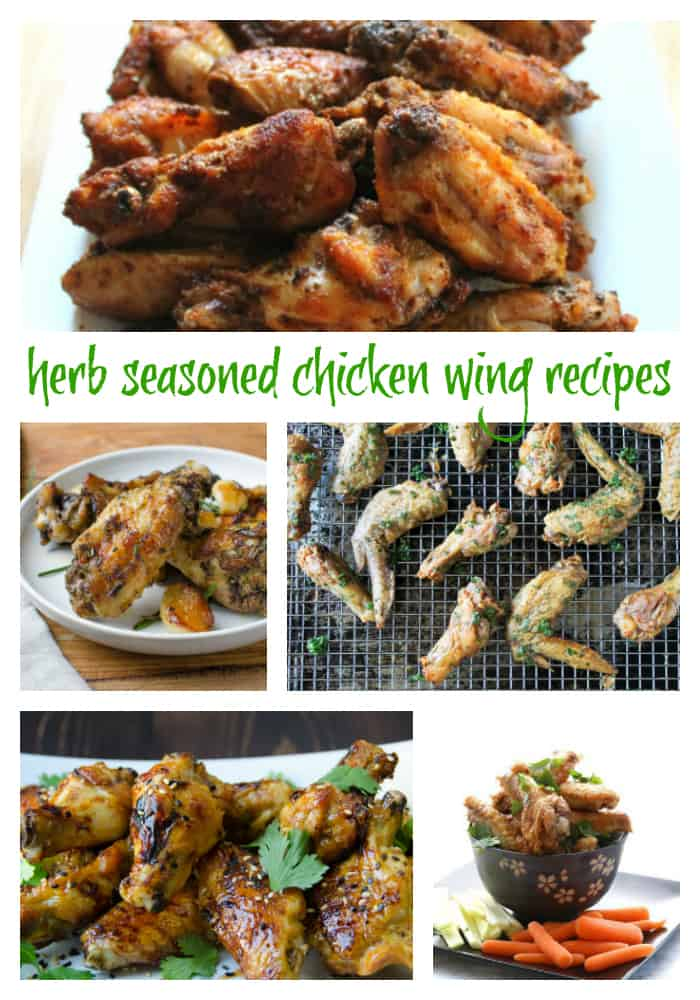 "chicken wing Collage image with text ""herb seasoned chicken wings"""