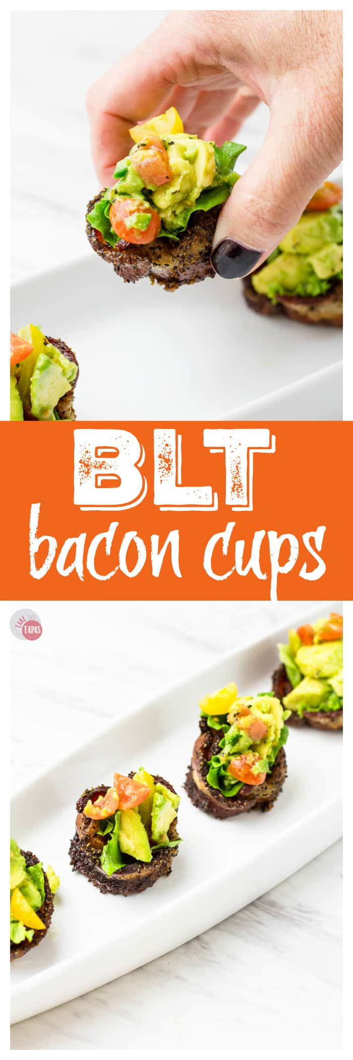 Quick and Easy BLT Bacon Cups | Take Two Tapas | #Paleo #bacon #BLT #avocado #Appetizers #BaconCups #PartyFoods #Tailgating