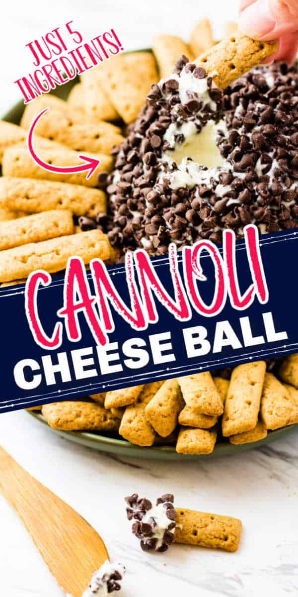 "collage with text ""cannoli cheese ball"""
