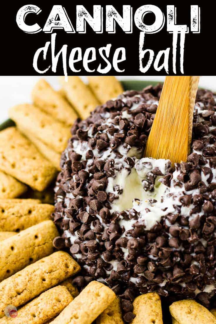 A dessert Cannoli Cheese Ball | Take Two Tapas | #Cannoli #CheeseBall #Dessert #PartyFoods