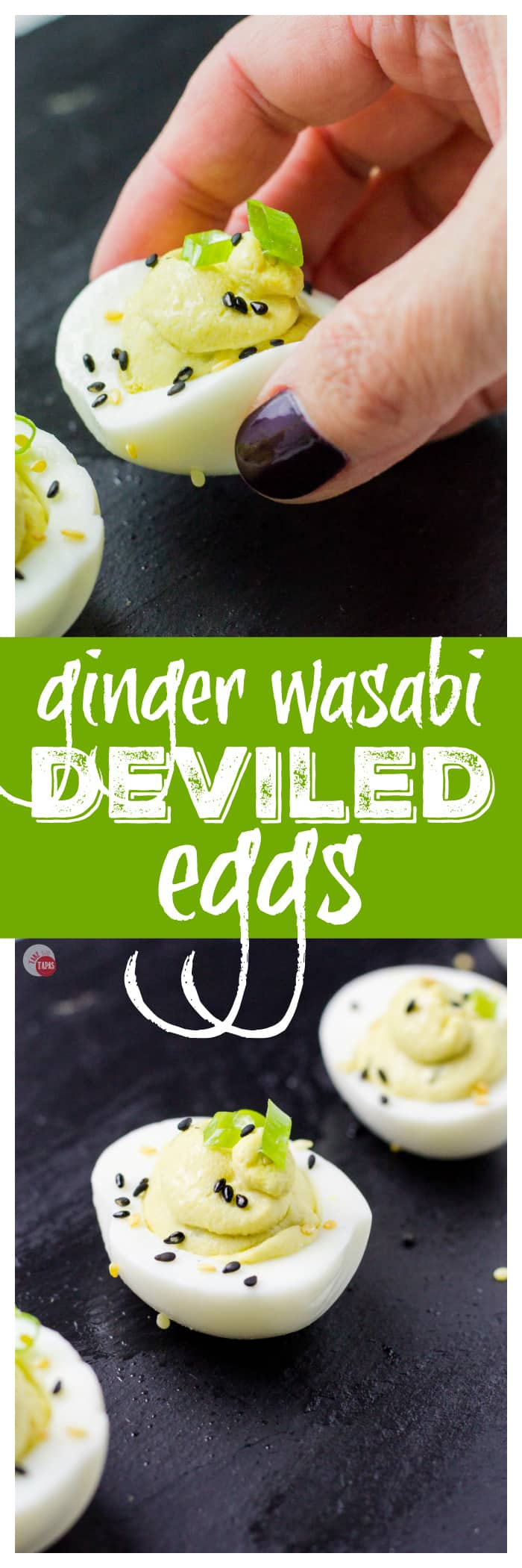 Gorgeous Wasabi Deviled Eggs | Take Two Tapas | #deviledeggs #deviled #eggs #ginger #wasabi #Asian #Easter #AD #ElevateYourPlate #MothersDay