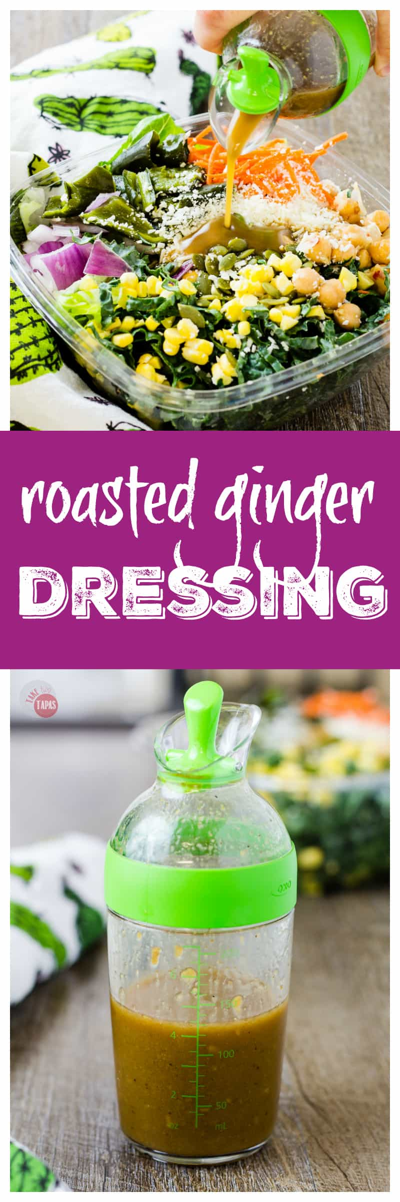 The Perfect Roasted Ginger Vinaigrette Salad Dressing | Take Two Tapas | #Paleo #Ginger #Roasted #homemade #SaladDressing #Salad #Diet