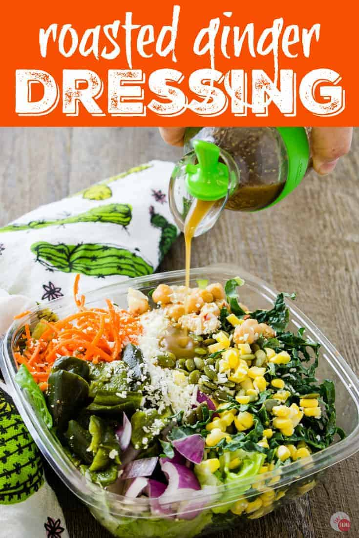 """Pinterest image with text """"Roasted Ginger Dressing"""""""