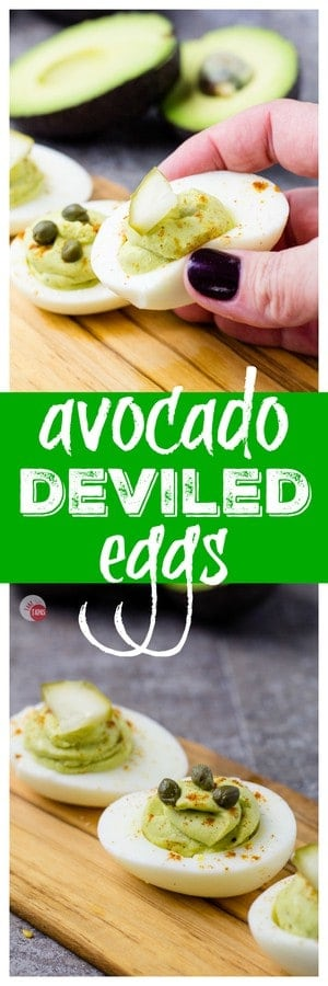 "Pinterest double image with text ""Avocado Deviled Eggs"""
