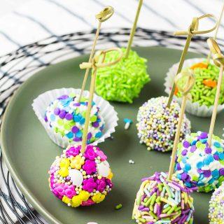 Spring No Bake Cheesecake Bites | Take Two Tapas | #Easter #MothersDay #Cheesecake #Bites #Truffles #NoBake #AD #FlavorYourSpring