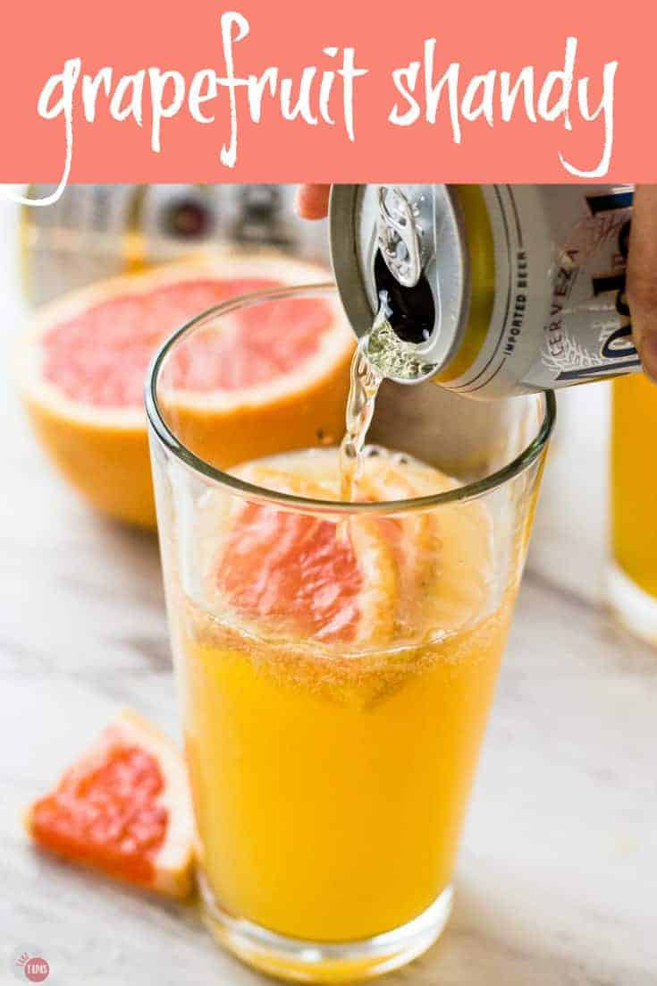 A bright summery grapefruit shandy beer cocktail | Take Two Tapas | #ShandyRecipe #grapefruit #cocktail #Beer #AD #CelebratorySips #CelebrateWithModelo