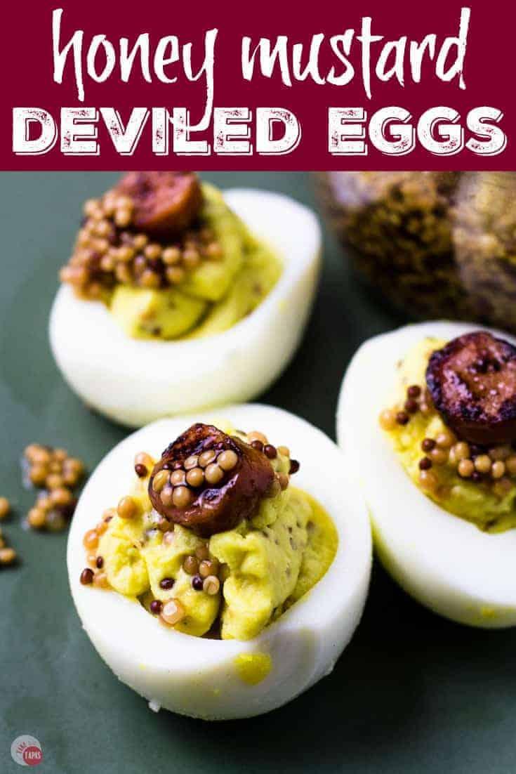 pinterest image for honey mustard eggs