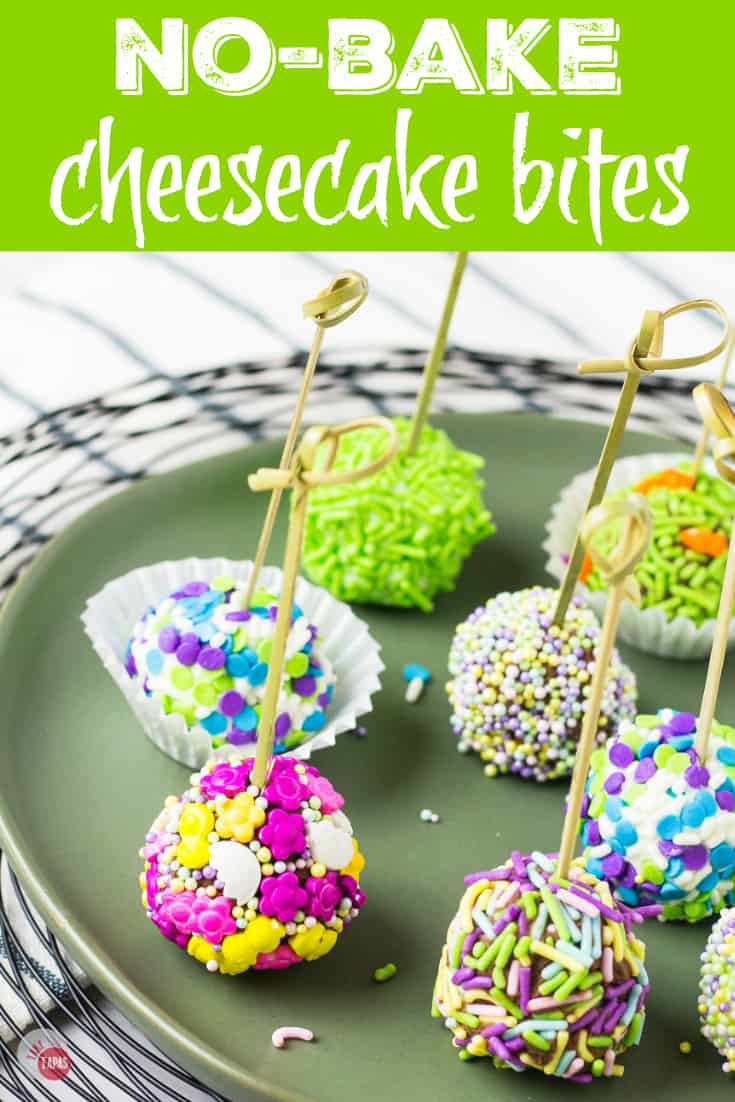 Easy No Bake Cheesecake Bites for Spring | Take Two Tapas | #Easter #MothersDay #Cheesecake #Bites #Truffles #NoBake #AD #FlavorYourSpring