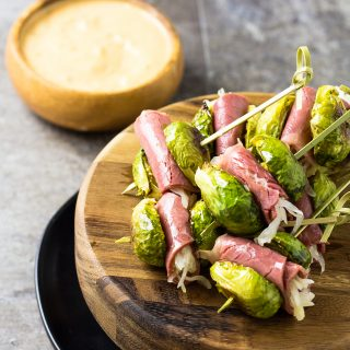 Reuben Skewers with Brussels Sprouts and Corned Beef | Take Two Tapas | #Reuben #Skewers #Sliders #CornedBeef #Cabbage #StPatricksDay #Sliders