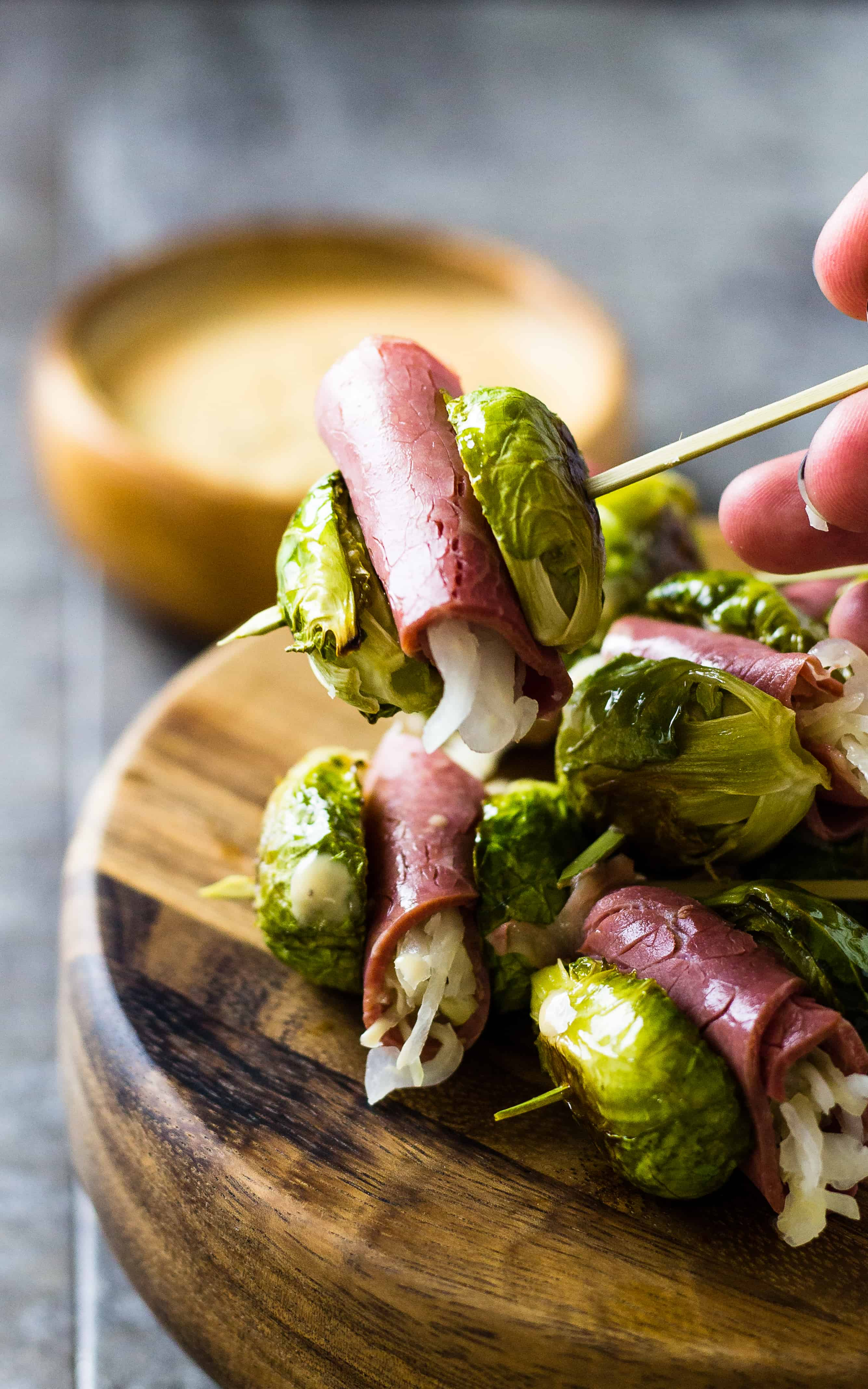 Reuben Skewers - Corned Beef Sliders with Sprouts | Take Two Tapas | #Reuben #Skewers #sliders #StPatrickDay #Sprouts #sauerkraut