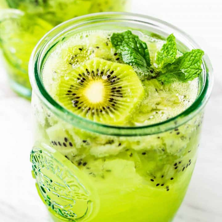 Close up of Kiwi Mint Mojito with rum