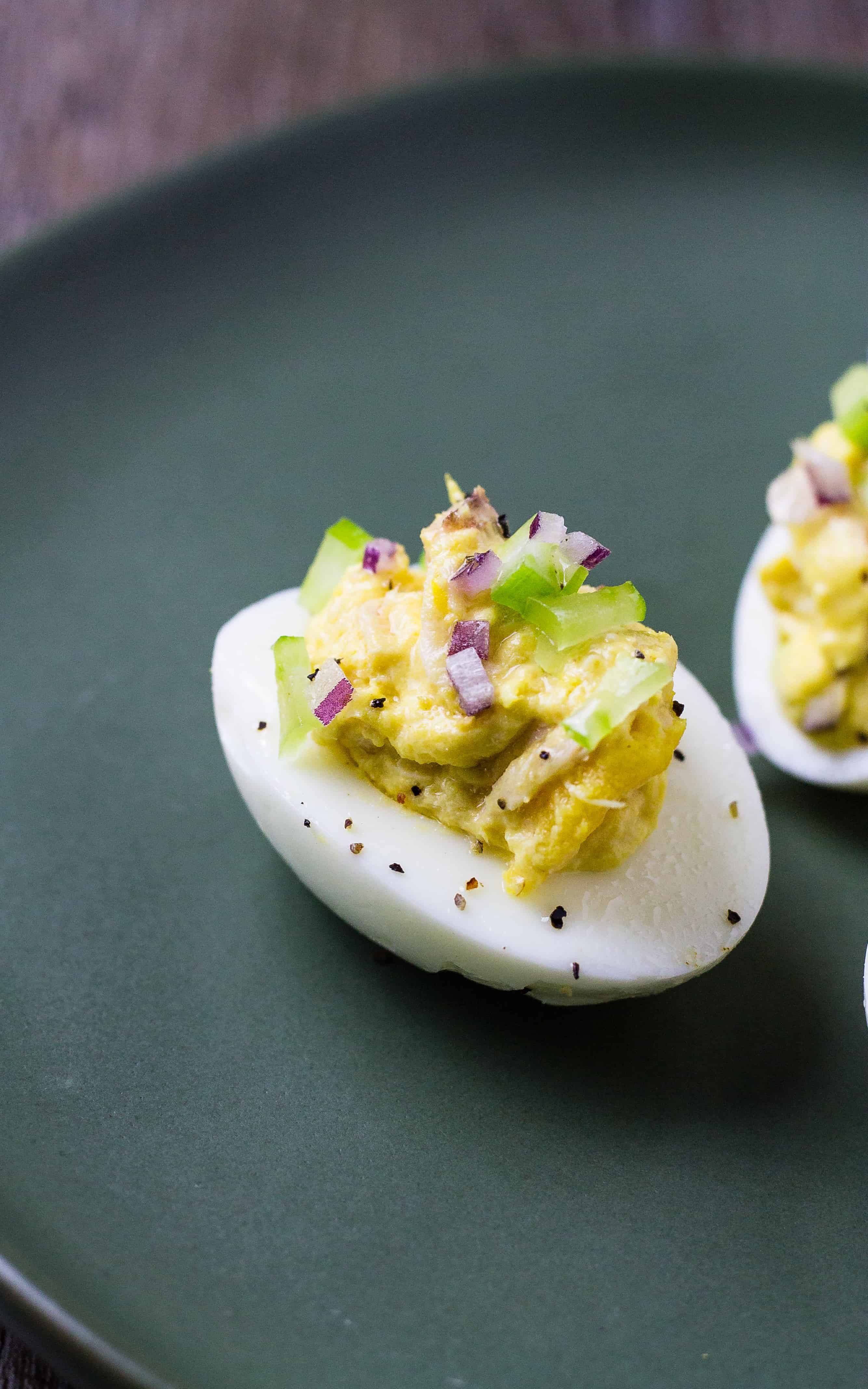 I love all the crunchy onion and celery in these Old-Fashioned Tuna Salad Deviled Eggs | Take Two Tapas | #DeviledEggs #TunaSalad #Tuna #Salad #Eggs #Brunch