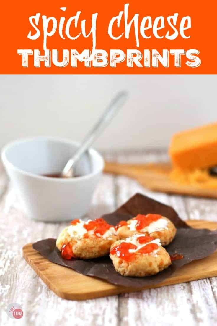 Spicy Cheese Thumbprints with Goat Cheese and Hot Pepper Jelly Recipe | Take Two Tapas | #Cookies #Thumbprints #Spicy #CheeseCrackers #HotPepperJelly #GoatCheese