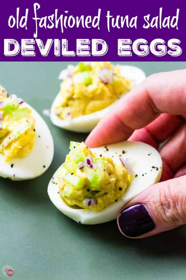 "Pinterest image of hand holding egg and text ""Old Fashioned Tuna Salad Deviled Eggs"""