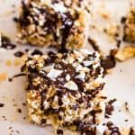 All the delicious flavors of an Almond Joy candy bar in a soft and chewy treat. These Almond Joy Rice Krispies Treats Squares are amazing! | Take Two Tapas | #AlmondJoy #RiceKrispieTreats #KrispieTreats #CrispyTreats