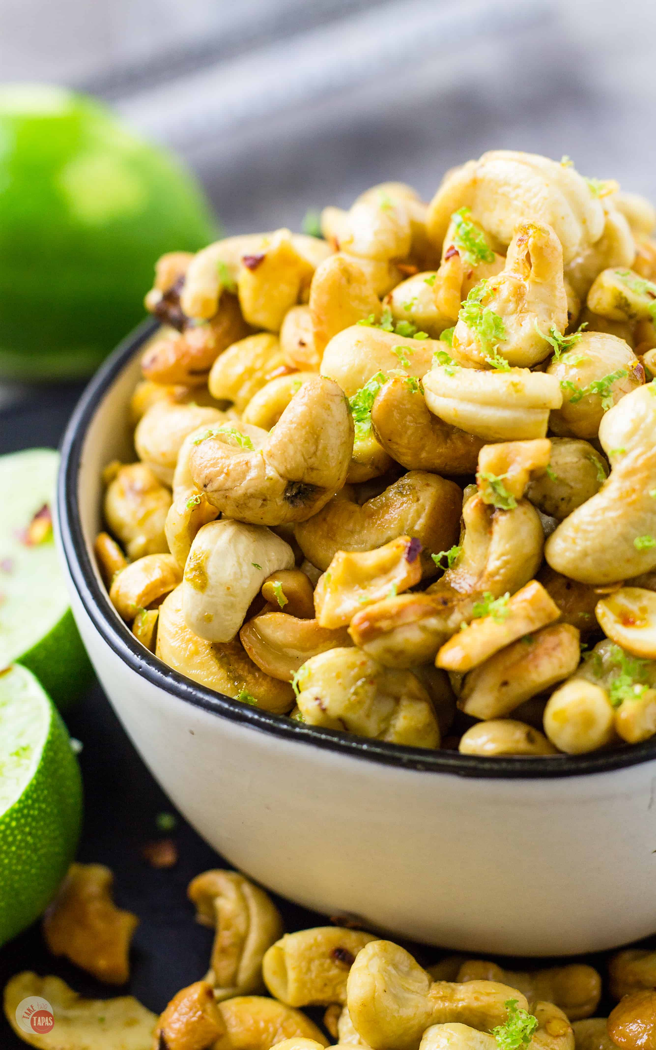 These Chili Lime Cashews will be the hit of your party! | Take Two Tapas | #Cashews #MixedNuts #SpicedNuts #SnackMix #Lime #Cashews #Nuts #Paleo