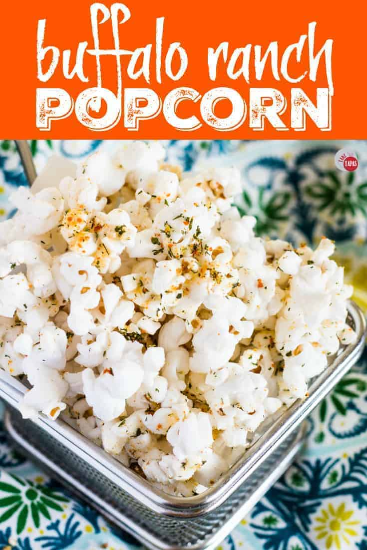 Spicy Buffalo Ranch Popcorn | Take Two Tapas | #BuffaloRanch #PopcornRecipes #HealthyPopcornRecipes #HotSauce #BuffaloRanchPopcorn