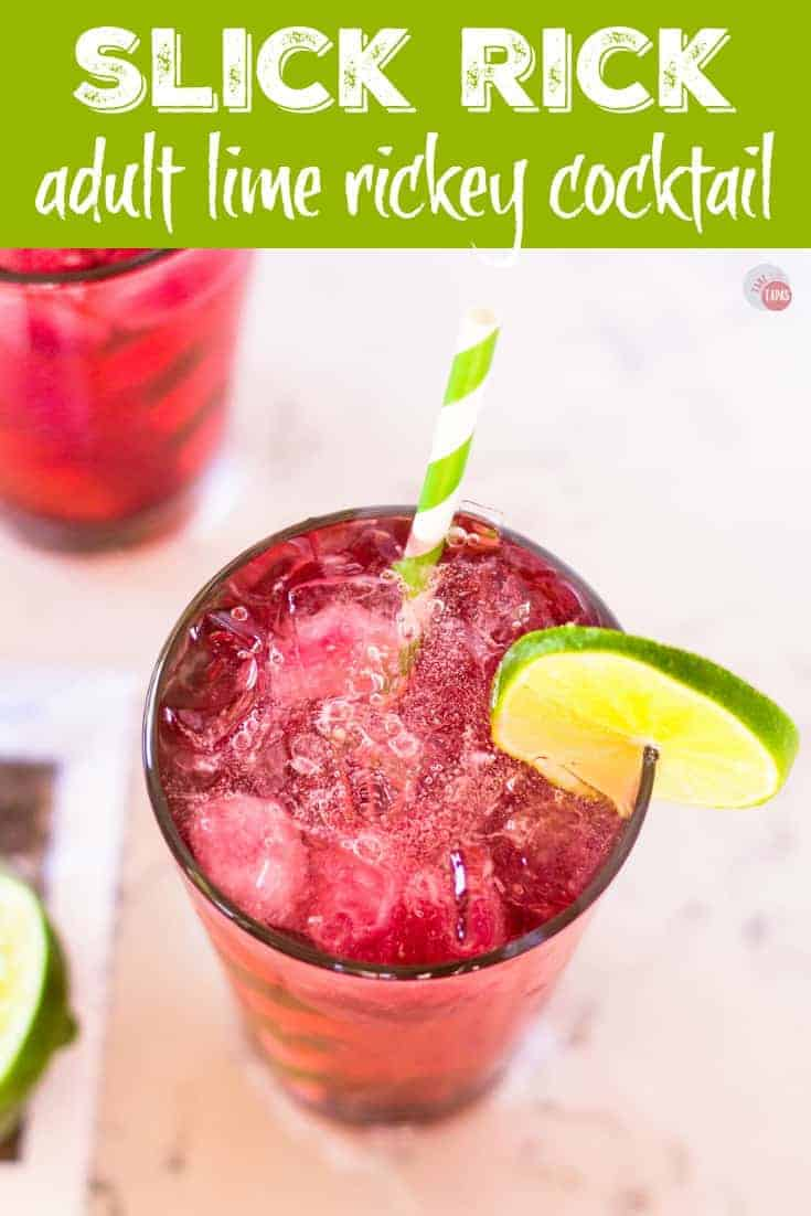 """Pinterest image with text """"Slick Rick Cocktail adult lime rickey cocktail"""""""