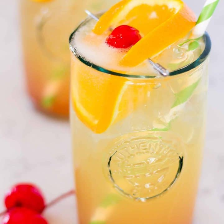 Sparkling Amaretto Sour Cocktail with orange sparkling water