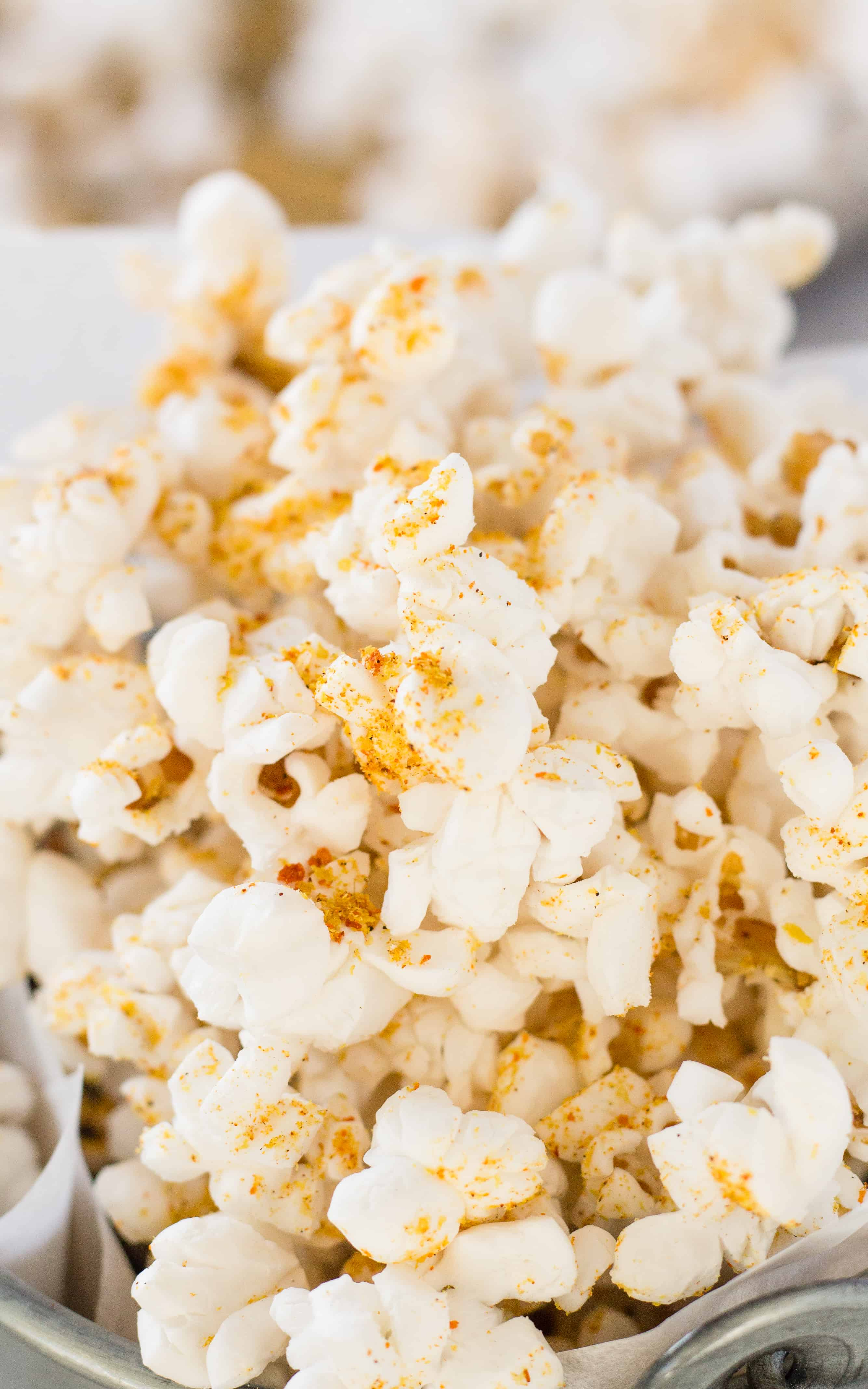 Use as little or as much Doritos Seasoning on this Spicy Nacho Popcorn | Take Two Tapas | #DoritoSeasoning #PopcornSeasoning #NutritionalYeastRecipes #SpicyNachoPopcorn