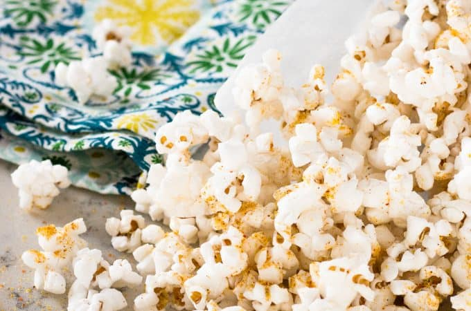 Gluten-Free Spicy Nacho Popcorn | Take Two Tapas | #DoritoSeasoning #PopcornSeasoning #glutenfreerecipe #NutritionalYeastRecipes #SpicyNachoPopcorn