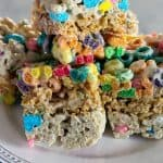 Layered Cereal Bars with Marshmallow | Take Two Tapas | #CerealBars #KrispiesTreats #FruitLoops #FrostedFlakes #LuckyCharms #CerealRecipes #KidsTreats #AfterSchoolSnacks