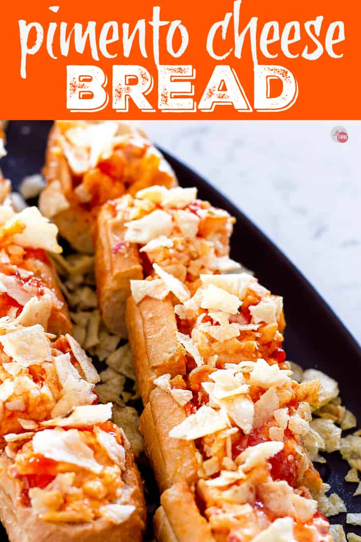 Sweet and Spicy Pimento Cheese Bread is an easy last minute appetizer recipe | Take Two Tapas | #SweetandSpicy #PimentoCheese #BreadAppetizer #FrenchBread #PartyFoods #PepperJelly