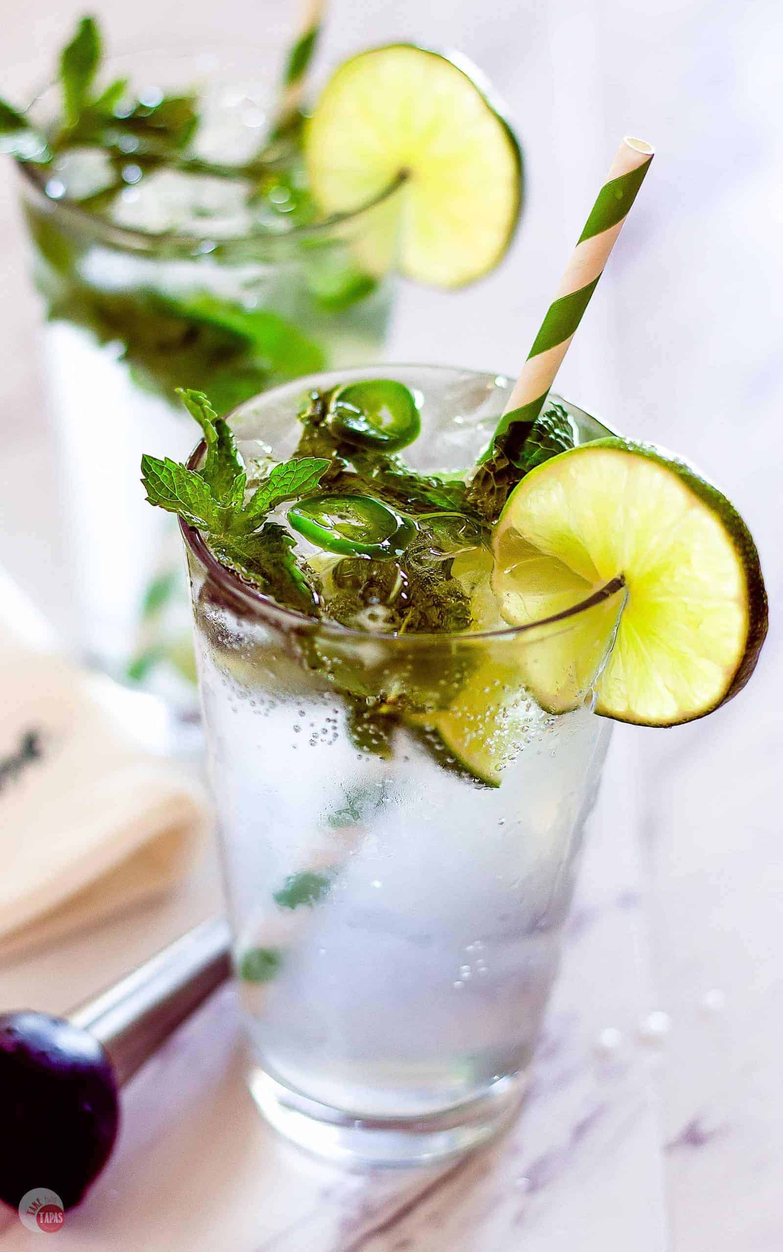Side view of 2 Sparkling Water Spicy Jalapeño Mojito