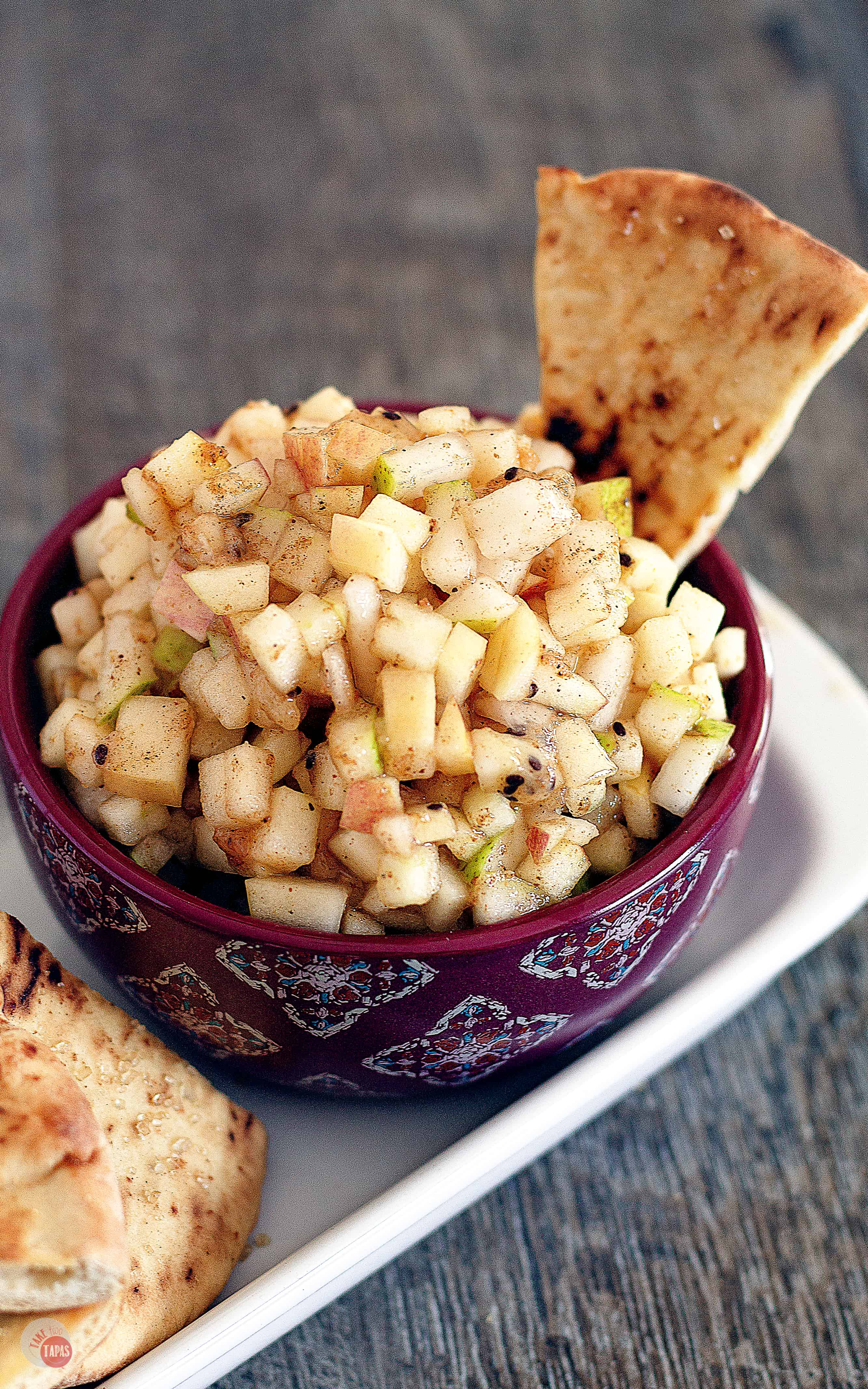 Love apple pie? Check out this new twist on apple pie with my fresh apple pie salsa! | Take Two Tapas | #ApplePieSpice #ApplePie #SalsaRecipe #AppleRecipe
