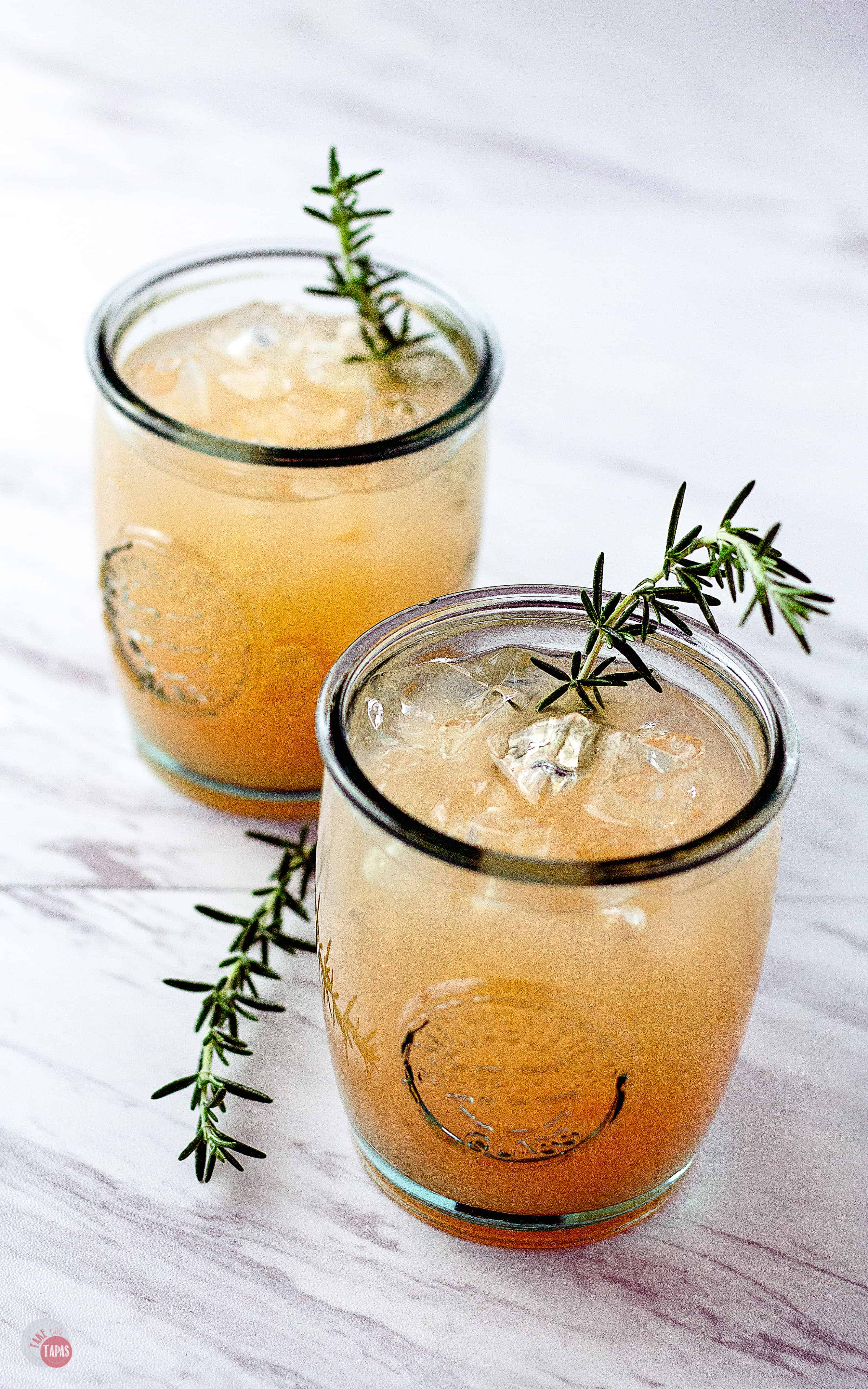 Side view of Grapefruit Rosemary Rum Punch