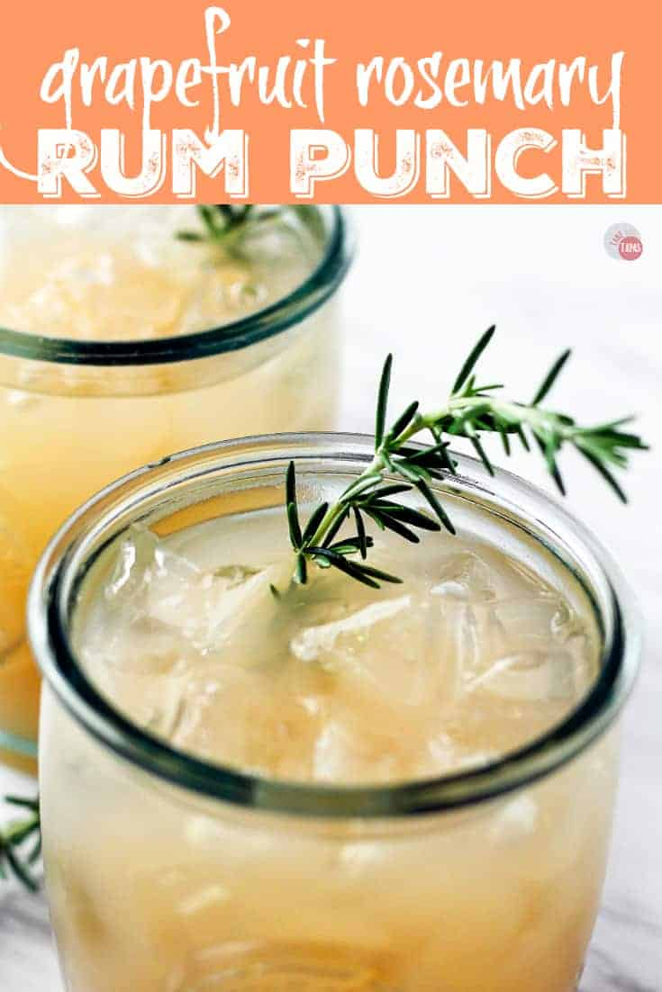 This Grapefruit Rosemary Rum Punch is the perfect combination of tart and herbal. Serve it as an individual cocktail or a large batch punch! | Take Two Tapas | #Grapefruit #Rosemary #RumPunch #RumCocktails