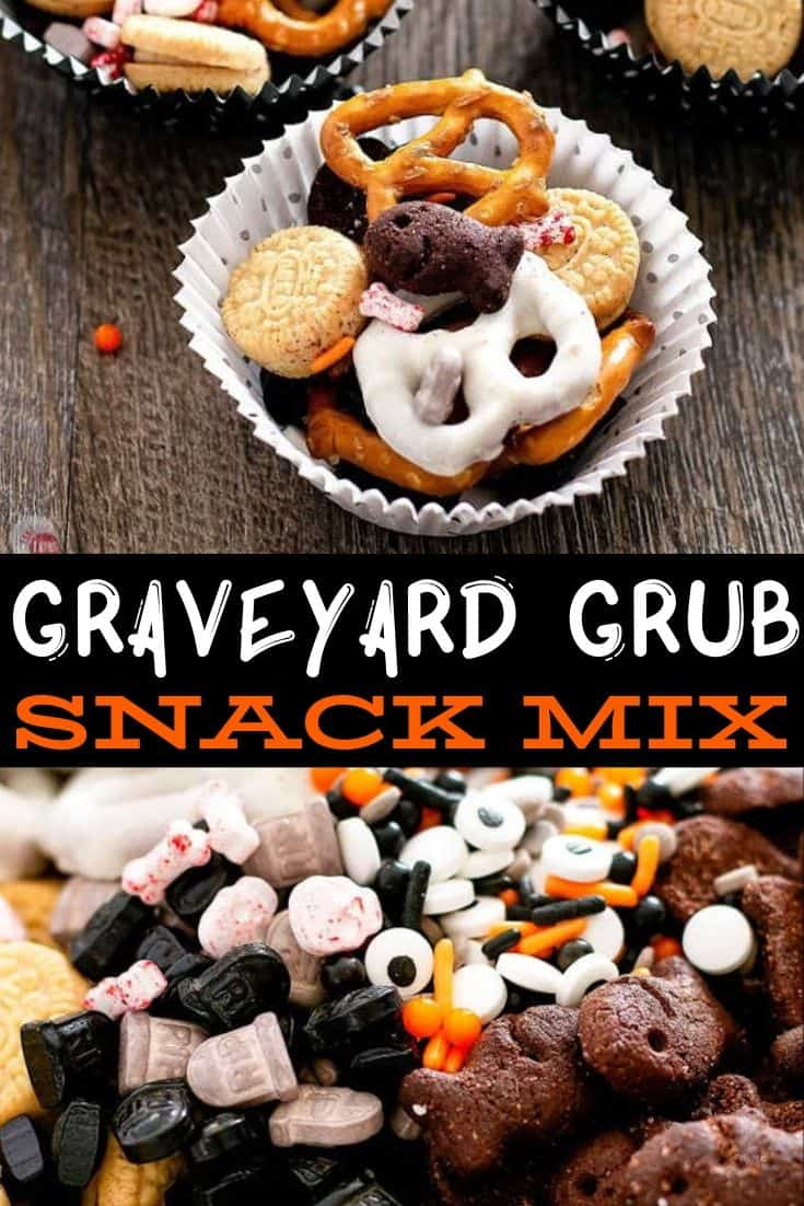 pinterest image for graveyard grub snack mix