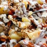 Halloween Poutine - A holiday version of poutine with apples and marshmallows! | Take Two Tapas | #PoutineRecipes #HalloweenRecipes #SweetPotatoRecipes #FrenchFryRecipes