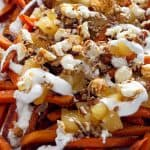 Halloween Poutine - A sweet potato french fries poutine recipe a Halloween Party! | Take Two Tapas | #PoutineRecipes #DessertPoutine #SweetPotatoRecipes #FrenchFryRecipes