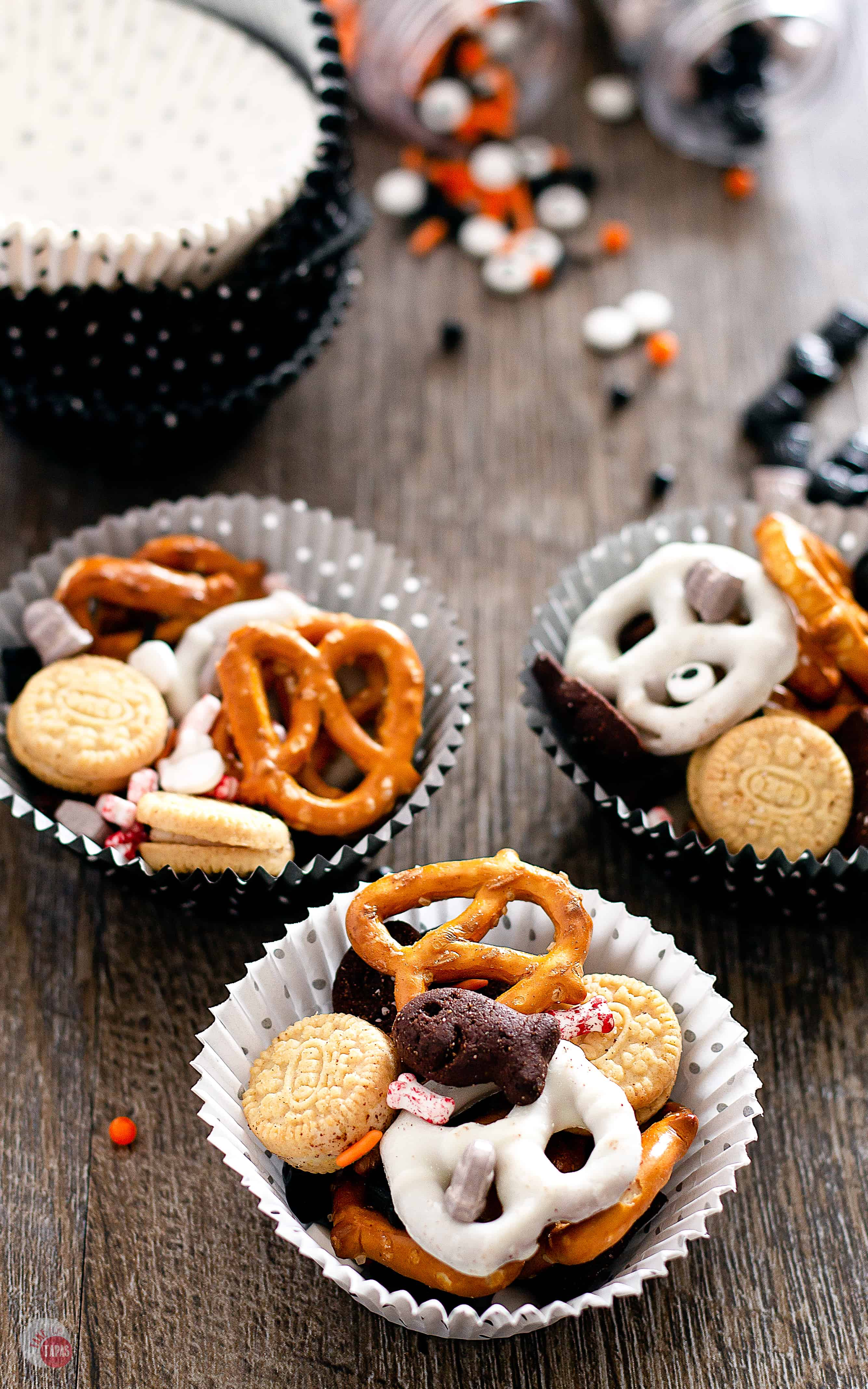 Celebrate Halloween with your favorite ghouls and goblins and this Graveyard Grub Snack Mix | Take Two Tapas | #SnackMix #HalloweenSnacks #HalloweenRecipes #SpookySnacks