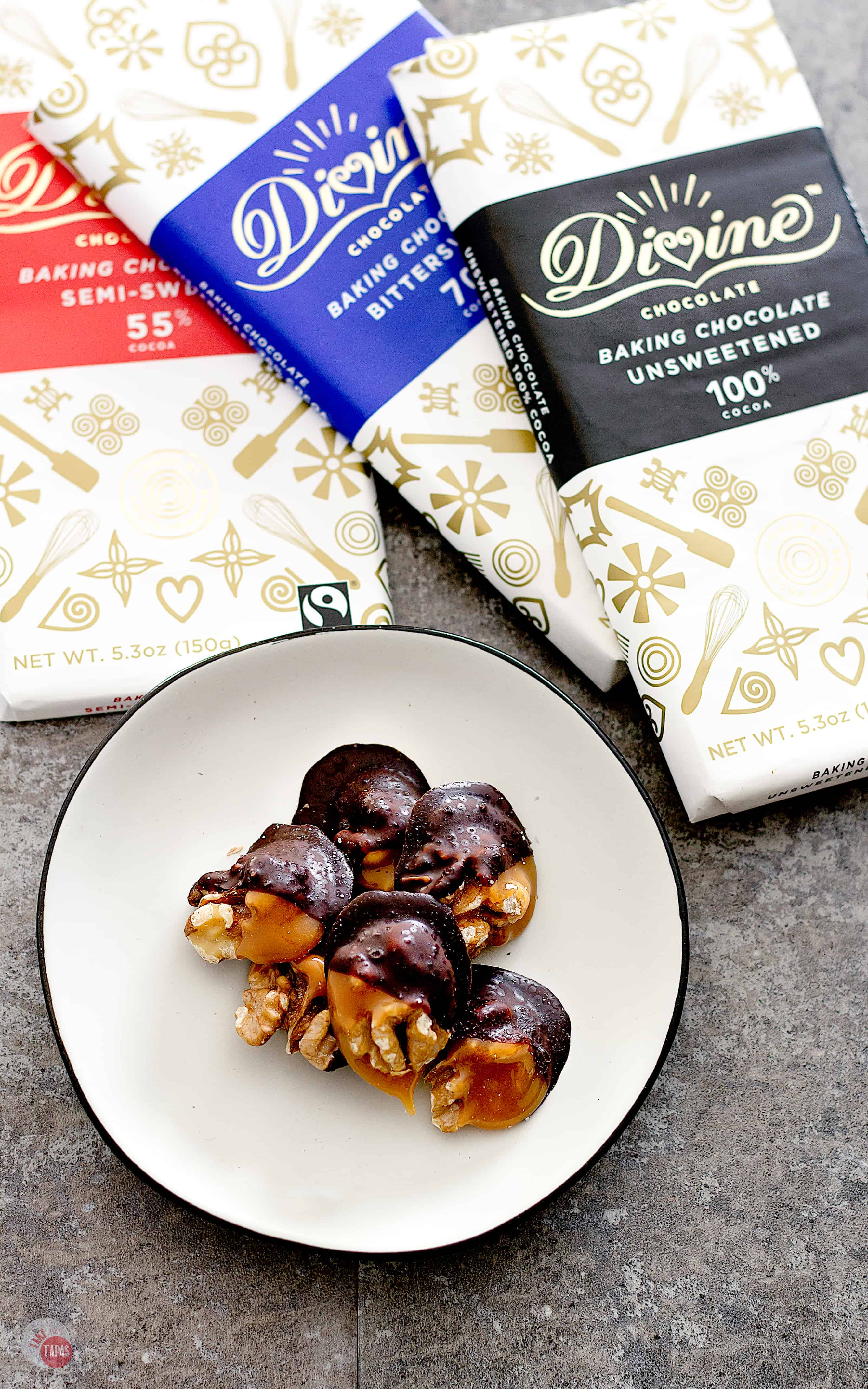 Walnut Amaretto Truffles are dipped in caramel and dark or bittersweet chocolate   Take Two Tapas   #AD #MakeSomethingDivine @divinechocusa #Choctoberfest