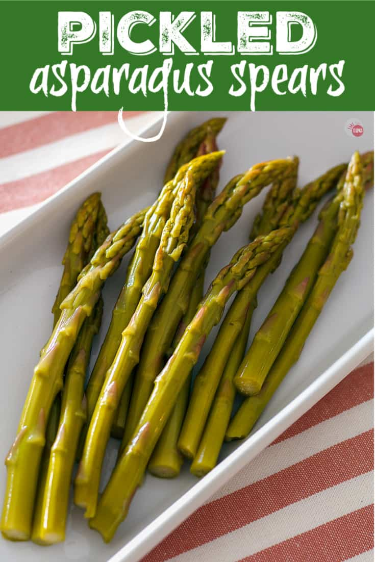 Pinterest image of pickled asparagus spears