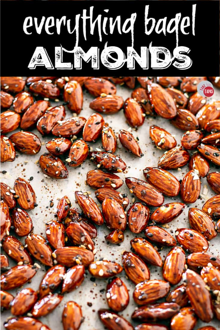 "Pinterest Image with text ""everything bagel almonds"""