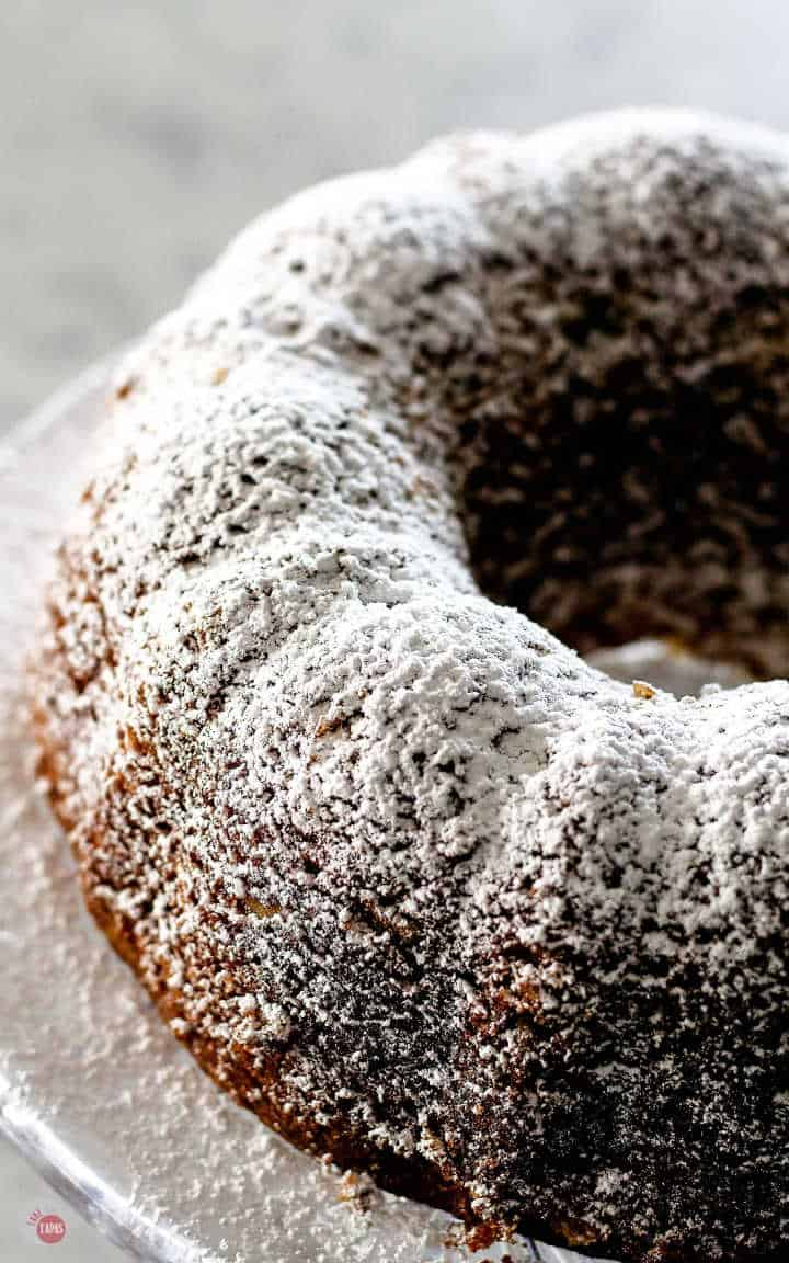 Powdered Sugar is all you need to top your Louisiana Stranger Cake Bundt Cake | Take Two Tapas | #BundtCakeRecipe #CakeMixRecipes