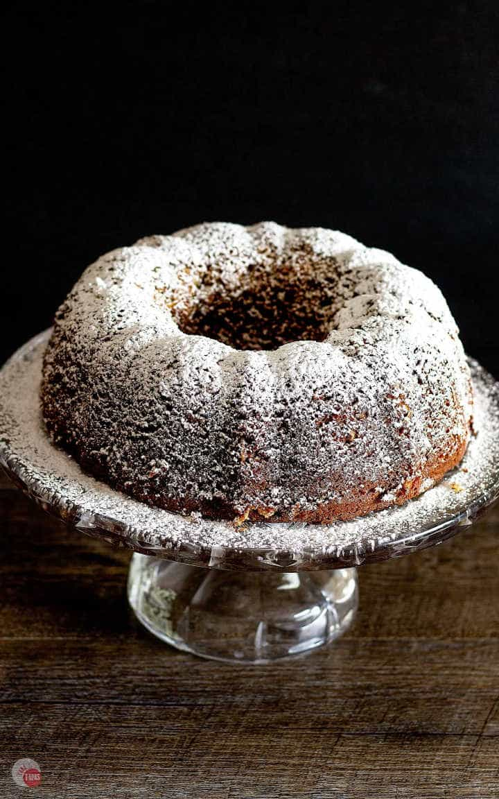 Louisiana Stranger Cake Bundt Cake on a glass cake platter