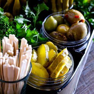 A relish tray is a great way to serve some tangy foods with your cheese boards! | Take Two Tapas | #RelishTray #PickledVegetables