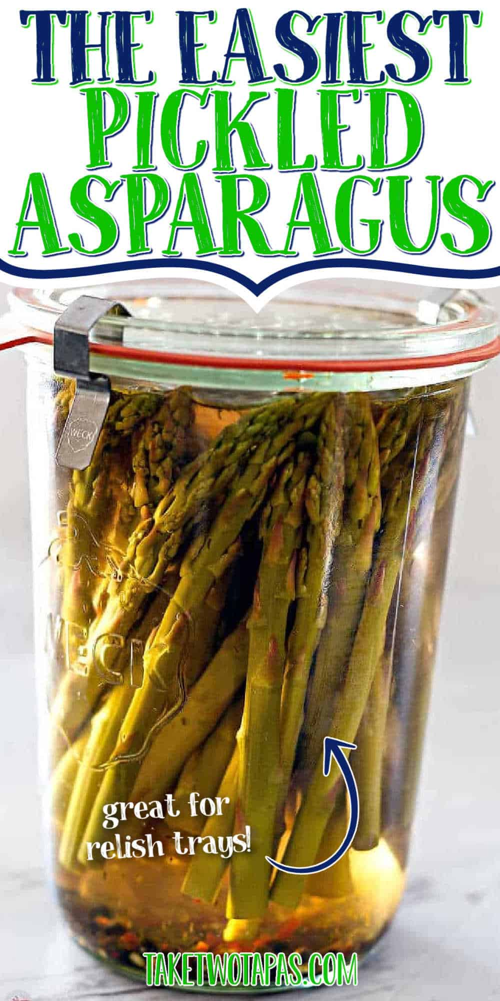 "jar of asparagus with text ""the easiest pickled asparagus"""