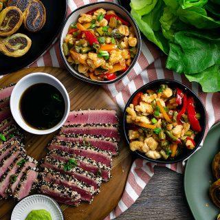 This Asian Tapas Menu is perfect for a holiday party! | Take Two Tapas | #AsianTapasMenu #TapasMenu @anolon #AD #KitchenCreativity