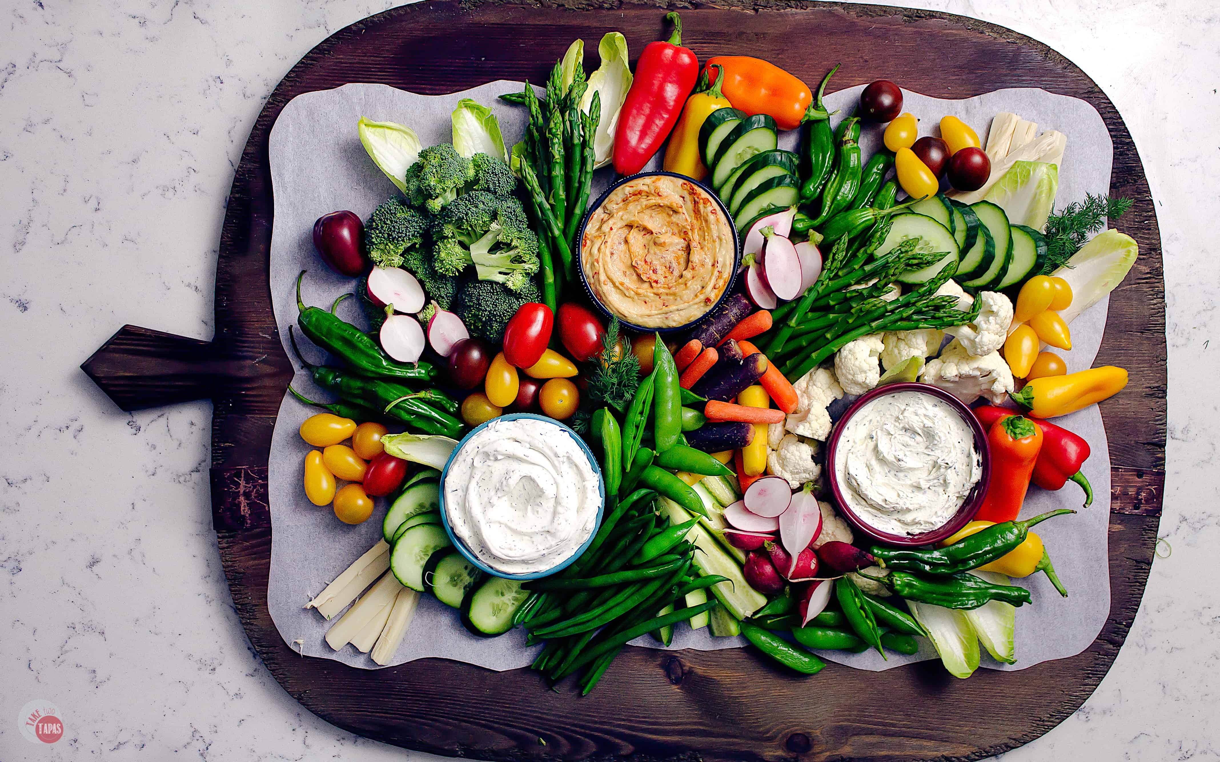 an overhead view of a vegetable platter