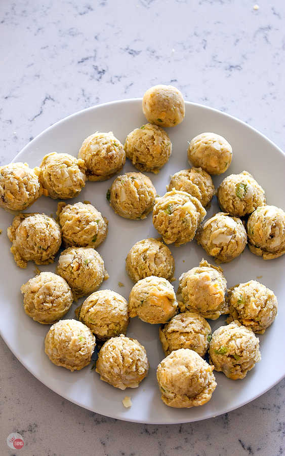 stuffing balls on a plate