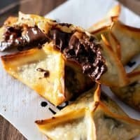 Turtle Wonton Kisses - Chocolate Caramel Pecan Cookies