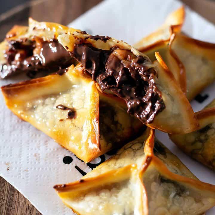 Turtle Wonton Kisses Chocolate Caramel Pecan Cookies