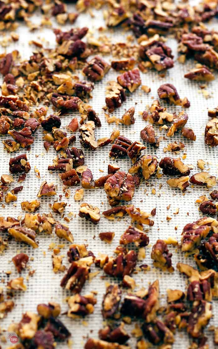 Pecan Butter Rum Toffee starts with perfectly toasted pecans. | Take Two Tapas | #Toffee #ButterRum #pecan #AD #ChristmasSweetsWeek @LorAnnOils