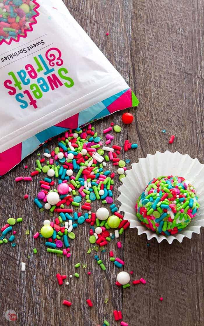Sprinkles make these Pecan Rum Balls festive!
