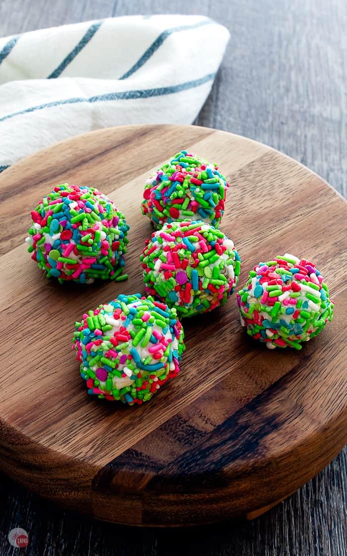 Pecan Rum Balls on a serving platter